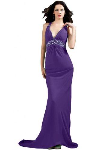 per sera a abito con scollo Fodero da V Sunvary varie Purple taglie feste F5wSfWq