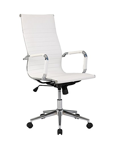 Belleze Modern High-Back Ribbed Upholstered Conference Office Chair, (Nylon Upholstered Bar Stool)