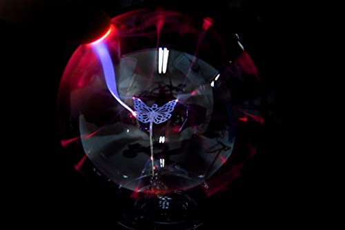 PowerTRC Plasma Ball Lamp Large Electric Globe Static Light Touch Sound Sensitive Lightning Glass Sphere and Mini Tesla Energy Coil Science Toy Nightlight for Kids