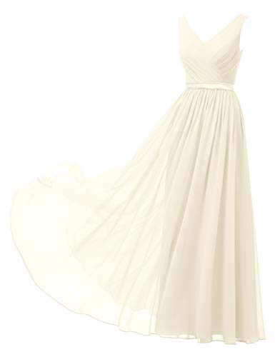 Alicepub V-Neck Chiffon Bridesmaid Dress Long Party Prom Evening Dress Sleeveless, Ivory, US8