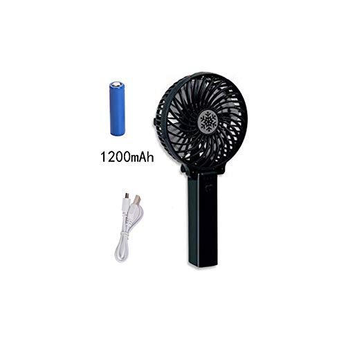 Yougou01 Electric Fan, Hand-held Convenient Fan, Gift 1200 MAh Battery and USB Data Cable (1021cm/48.4 Inches, Black/Blue/Pink/White) (Color : Black)