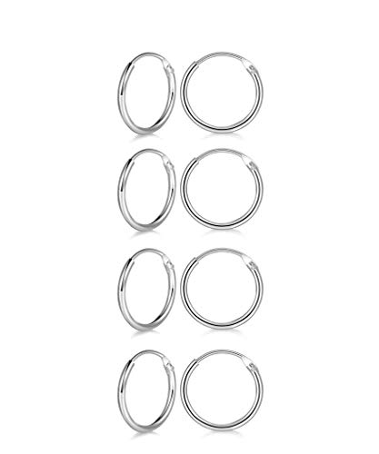 Hoop Earring 14K White Gold Plated S925 Sterling Silver Endless Small Hoop Earring Set for Cartilage Nose Lip Rings (4 Pairs 14mm)