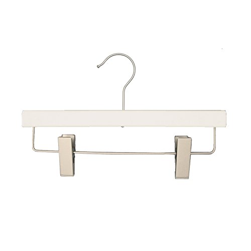 NAHANCO 21112RC Flat Wooden Skirt and Slack Hanger, 12'', Low Gloss White (Pack of 100) by NAHANCO