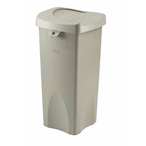 Rubbermaid 23 gal Beige Untouchable Trash Receptacle With Swing Lid - 16