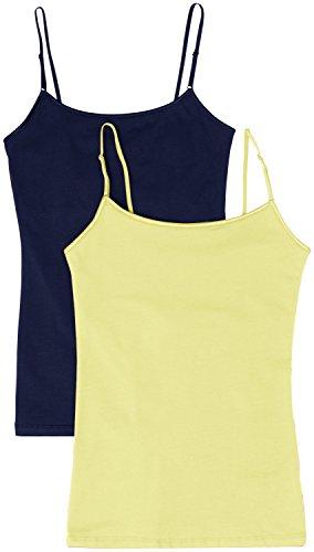 2113a89302956a Simlu Women s Camisole Built-In Shelf Bra Adjustable Spaghetti Straps Tank  Top Pack 2 PK
