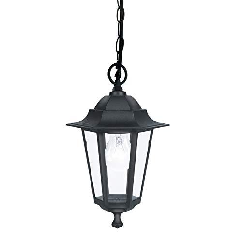 EGLO Lámpara Colgante Linterna 4 E27, 60 W, Negro, 3 x 20.5 x 40 cm