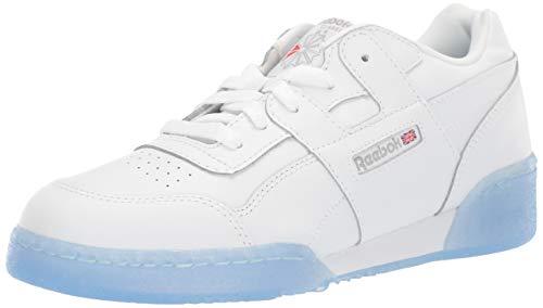Reebok Boys' Workout Plus, White/Carbon/Blue, 5 M US Big Kid