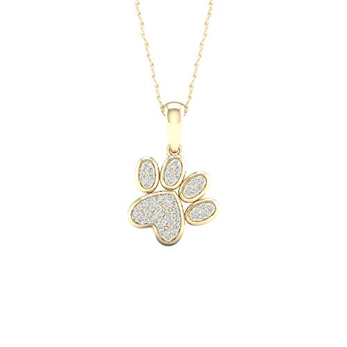 10K Yellow Gold Diamond Dog Paw Print Pendant Necklace 18inch(0.12 ct / I2,H-I)
