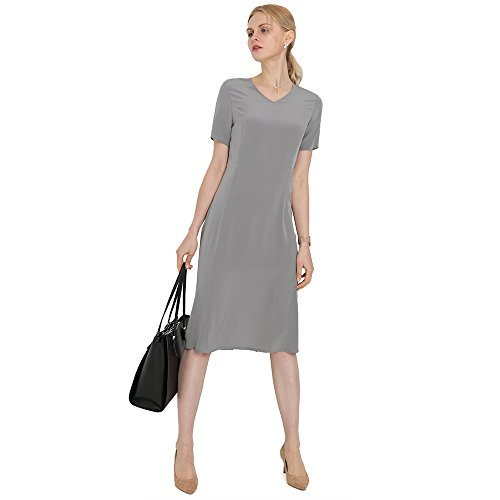 LilySilk Silk Dresses for Women Short Sleeve Natural Mulberry 18MM Get Attention in Alluring Work Office Tunic Dress Classy Grey L/12