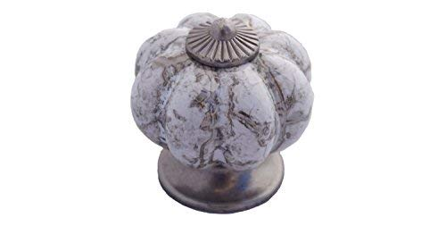 DIY Décor Hub-10 Antique Silver Kitchen Ceramic Pumpkin Pulls/Knobs for Cabinets, Cupboard Dresser and Drawers