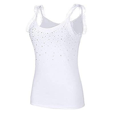 ZZpioneer Women Summer Tank Tops Fashion Plus Size Rhinestone Lace Shirt Blouse Camisole
