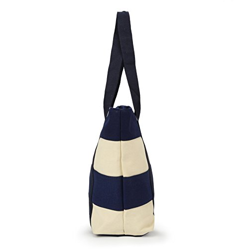 Rayures Elégant Bleu Trousse Avec Capacité Maysurban En À Décontracté Sac Grande Foncé Cabas Shopper Plage Toile De Tote Bag Simple aqUUFfIw