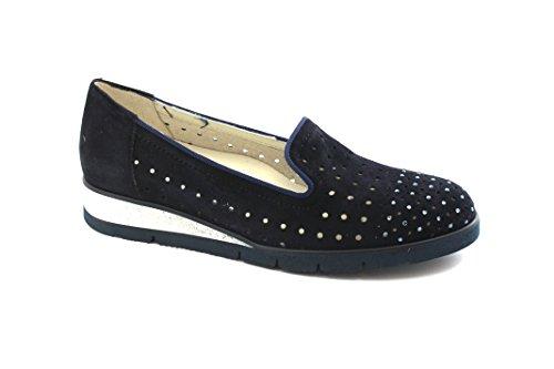 Perforados Cuñas Zapatos Blu Holgazán Melluso R30706E Noche Azules wYtt1U