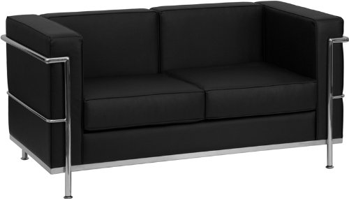 (Flash Furniture HERCULES Regal Series Contemporary Black Leather Loveseat with Encasing Frame)