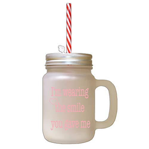 Style In Print Soft Pink I Love You More Than My Phone Frosted Glass Mason Jar with Straw