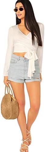SheIn Women's Deep V Neck Knot Front Long Sleeve Wrap Crop Top Tee T-Shirt