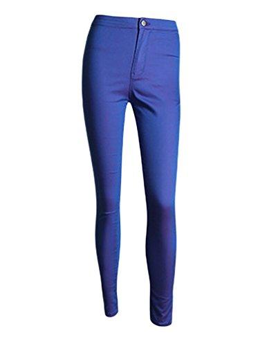 Tights Baymate Bleu Elastic Jeans Pants Femmes High Waist Denim wxxaz7CBq