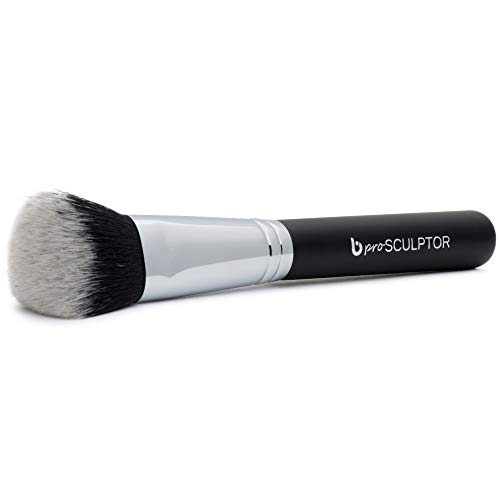 pro Sculptor Contouring Makeup Brush Dome Shaped Synthetic Bristles for Sculpting the Cheekbones, Forehead and Jawline; Works with Creams, Powders and Minerals; Professional Quality