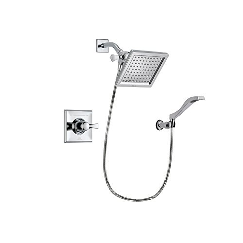 Delta Arzo Chrome Finish Thermostatic Shower Faucet System Package with 6.5-inch Square Rain Showerhead and Modern Handheld Shower Spray with Wall Bracket and Hose Includes Rough-in Valve DSP0024V