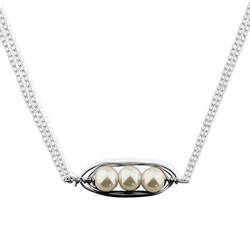 BNQL Sweet Pearl Peas in a Pod Choker Mothers Necklace (3 (Sweet Pea Pearl Pendant)