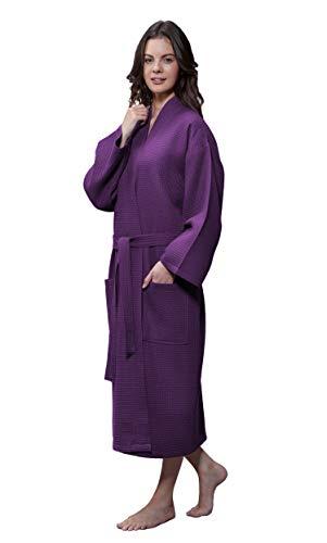 Lightweight Long Waffle Kimono Unisex Spa Robe (XXL, Purple)