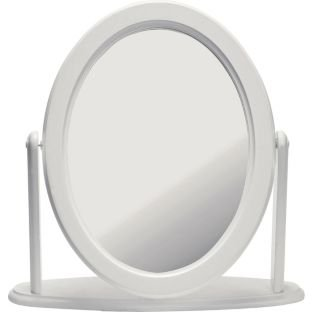 Solid Pine White Oval Free Standing Dressing Table Mirror (662440800)