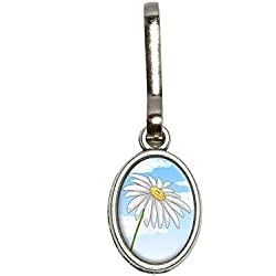 Graphics and More White Daisy Flower - Blue Sky Antiqued Oval Charm Clothes Purse Luggage Backpack Zipper Pull