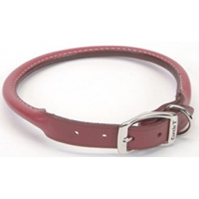 Coastal Pet Products Circle T Oak Tanned Leather Round Dog Collar, 5 8  x 16 , Red