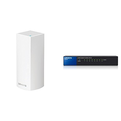 Linksys Velop Tri-band Whole Home WiFi Intelligent Mesh System, 1-Pack + Linksys 8-Port Metallic Gigabit Switch (SE3008) Bundle