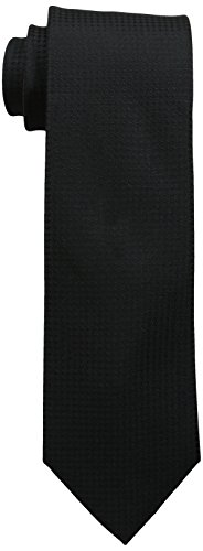 Calvin Klein Men's Black Tie, Black Gingham, One ()