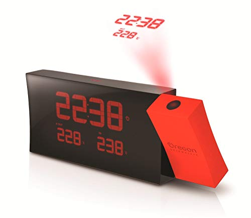 (Oregon Scientific RMR221PN/BOXR Prysma Atomic Projection Clock, Red by Oregon Scientific)