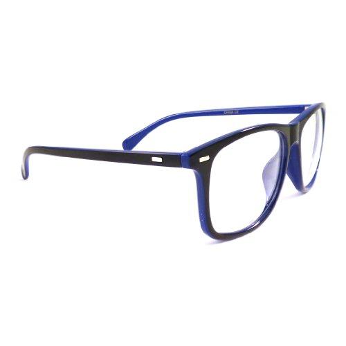 VINTAGE WAYFARER Retro 2 Color Frame Rx-able Clear Lens Eye Glasses BLACK/BLUE GLOSSY