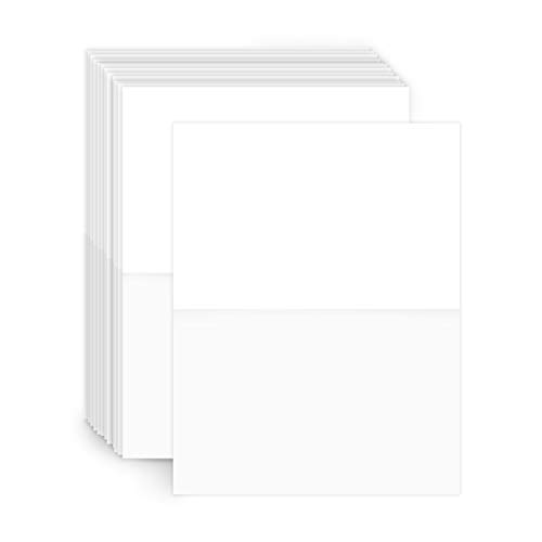 Heavyweight Blank White Half Fold Greeting Cards | For Wedding Invitation, Thank You Cards, Stationary Printing and DYI Projects | 5.5 x 8.5