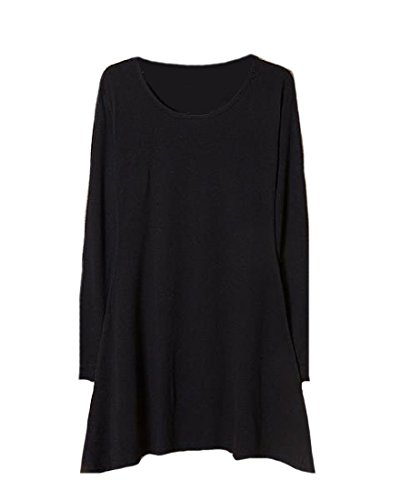 Confortables Femmes À Long Pull-over De Style De Base Solide Manches Mini Noir Robe Casual