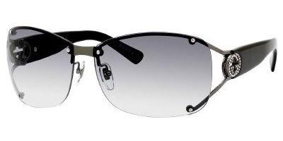 Gucci Women's 2820/F/S Wrap Sunglasses,Shiny Dark Ruthenium Frame/Grey Gradient Lens,One - Dark Ruthenium
