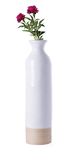 Finish White Lacquer Glossy - Uniquewise QI003455WN.S Cylinder Shaped Tall Spun Floor Vase Glossy White Lacquer and Natural Bamboo Finish, Small