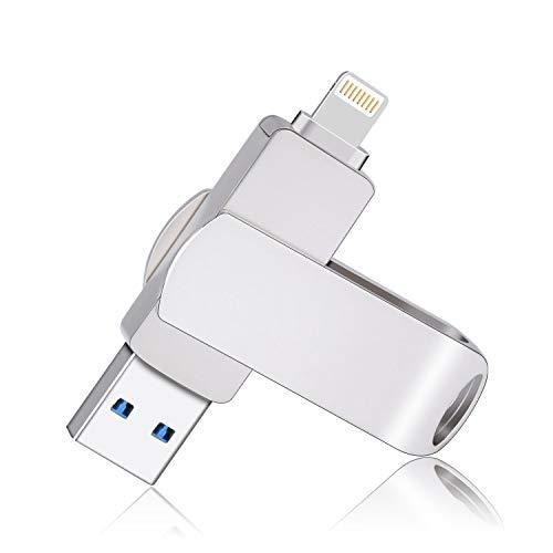 Sanfeya 128GB USB 3.0 Flash Drive for iPhone, Lightning Flash Drive 2-in-1 USB Thumb Drive, External Storage Memory Stick for iPhone iPad MacBook iOS Windows PC