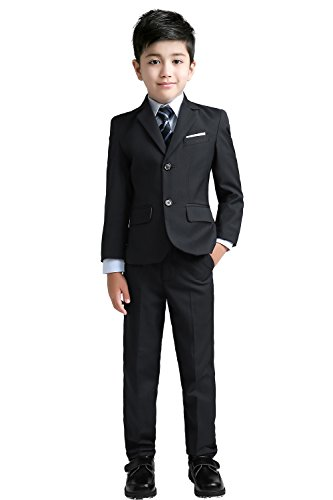 YuanLu Boys Suits with Blazer Pants Vest Shirt and Tie Kids Suit for Wedding Size 10 Black