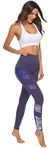 Persit Women's Printed Yoga Pants with 2 Pockets, High Waist Non See-Through Tummy Control 4 Way Stretch Leggings 6