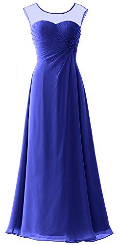 MACloth Women Cap Sleeves Chiffon Long Prom Dress Wedding Party Formal Gown Azul Real