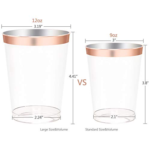 200 pieces Rose Gold Plastic Plates,Rose Gold Silverware, Rose Gold Cups, Linen Like Paper Napkins, Rose Gold Disposable Flatware, Enjoylife (Rose Gold, 200) by EnjoyLife Inc (Image #2)