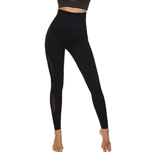 Price comparison product image Women's Butt Lift High Waist Yoga Pants Stretchy Skinny Sheer Mesh Workout Trousers Leggings Yoga Tights Yamally Black