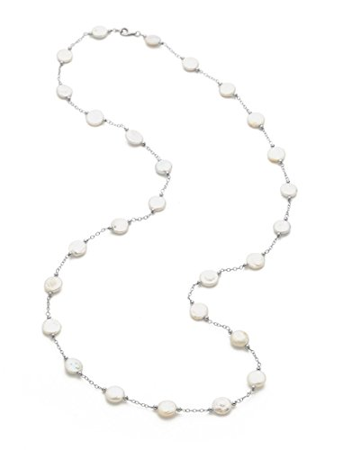 White Freshwater Cultured Coin Pearl Station Necklace, 38'' - Coin Necklace Station Pearl