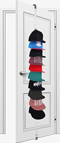 White Storage Caps - Baseball Cap Holder, Hat Organizer - Hold 10 Baseball Hats, Metal Hook Over Door Storage Cap Rack (White)
