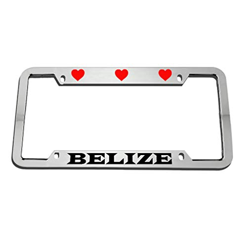(Speedy Pros I Love Heart Belize Zinc Metal License Plate Frame Car Auto Tag Holder - Chrome 4)