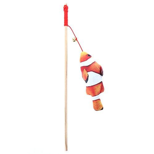 Jocestyle 1pc Funny Cat Teaser Wand Fish Cat Stick Toys Wooden Plush Pet Kitten Toy Bells Ring (Clown Fish) ()