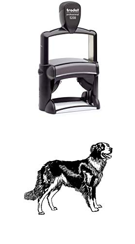 Border Collie Dog Rubber Stamp - Large Heavy Duty Self-Inking - 1.75 inches (40mm) Tall Image Area - Select from Several Sizes - Some can be Customized with Text - Black Ink
