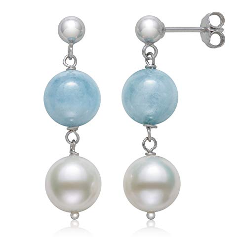 (Sterling Silver Natural Milky Aquamarine and White Cultured Freshwater Pearl Drop Dangle Earrings)