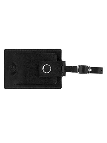 - Mancini Leather Goods Inc Men's Top Grain Polished Drum Dyed Leather Luggage Tag 2.75
