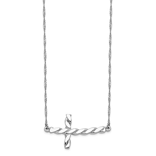 14k White Gold Twisted Sideways Cross Religious 17 Inch Chain Necklace Pendant Charm Fancy Fine Jewelry For Women Gift Set